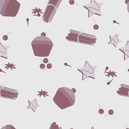 Seamless pattern with cakes, cookies and spices in pastel colors. For decorating textiles and packaging. Vector illustration. Ilustração