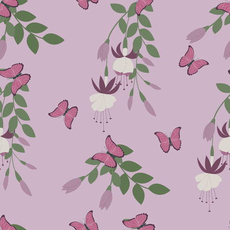 Seamless pattern with flowers of fuchsia and butterflies on a lilac background. Illustration