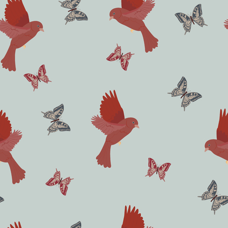 Seamless pattern with bird canary and butterflies on a blue background. For decorating textiles, packaging and wallpaper. Vector illustration. Illustration