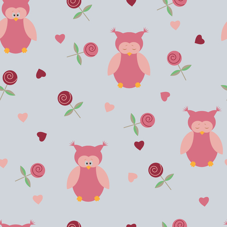 Illustration of a seamless pattern with owls and roses on a gray background.