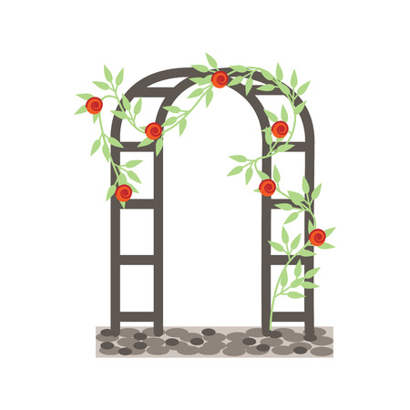 Wedding garden arch with red roses flowers. Vector illustration isolated on white background
