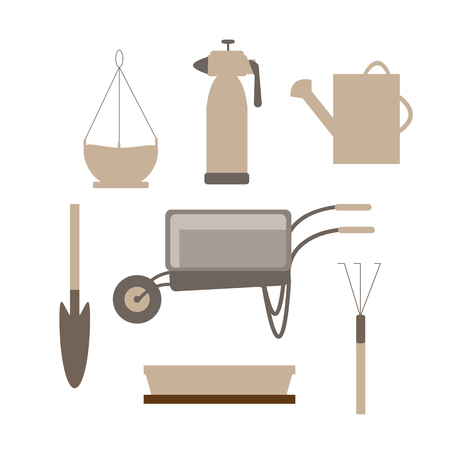 Set of various agricultural tools for garden care, colored vector flat illustration in brown color isolated on white background