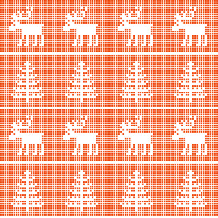Scandinavian seamless pattern with whites deer and ?hristmas tree .Nordic style. Textiles. Christmas wrapping paper background red ,in a cage.
