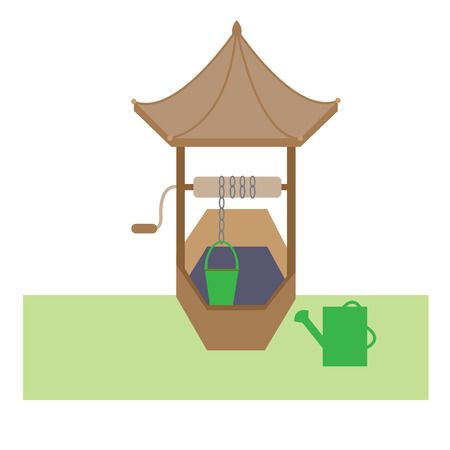 A wooden well with a bucket and a garden watering can for design. Ilustração