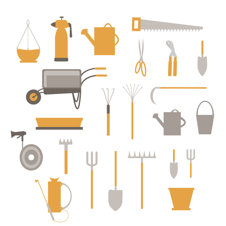 A set of garden tools, equipment for agriculture isolated on a white background, in the style of a flat vector.