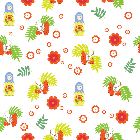 A Vector seamless pattern with matreshka dolls and rowan branches on a white background.