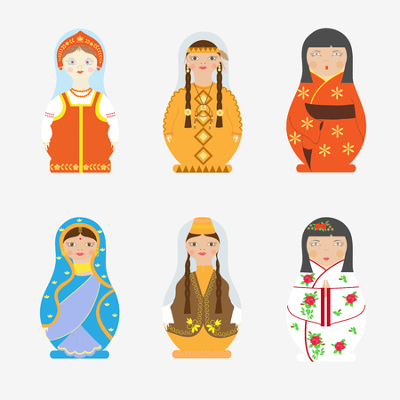A Vector set of matreshka in national costumes of different countries on a white background. Ilustração