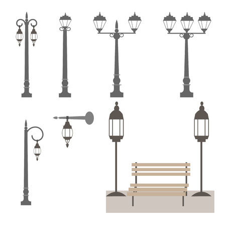 A Vector set of street lamps and benches outdoors. To decorate urban landscapes. Çizim