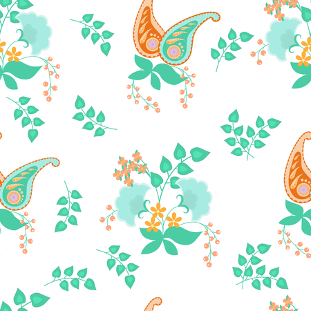 A Seamless vector pattern with delicate fentazy flowers and Indian cucumber on a white background. For decorating textiles, packaging, wallpaper.