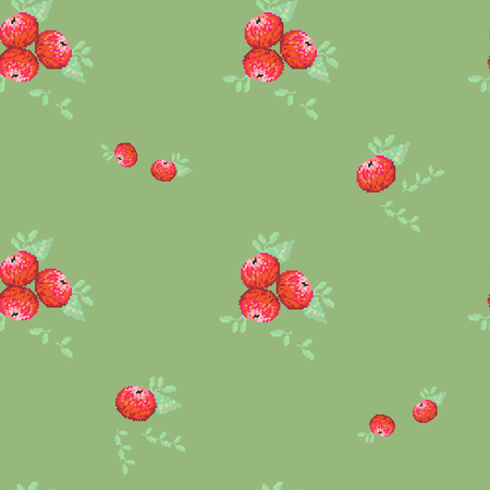 Seamless vector pattern with red apples on a green background. For decoration of fabric, wrapping paper, wallpaper.