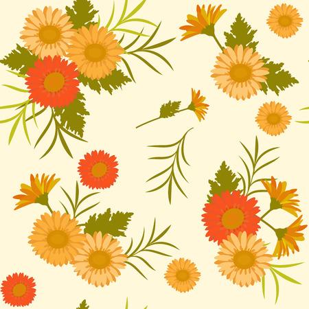 Calendula, or chrysanthemum, or gerbera yellow and orange flowers, floral natural seamless background, vector pattern.