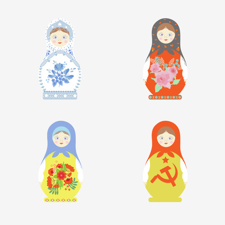 A set of Matryoshka dolls in folk Russian style - Gzhel, Khokhloma. For decoration isolated on white background. In vector.