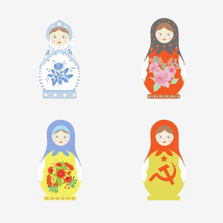 A set of Matryoshka dolls in folk Russian style - Gzhel, Khokhloma. For decoration isolated on white background. In vector.
