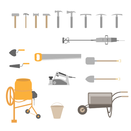 Building tools isolated on white background.
