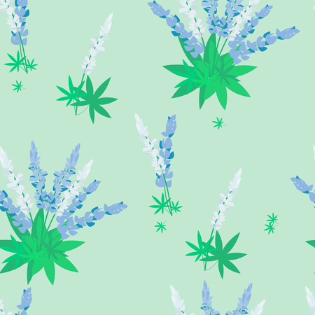 Seamless vector pattern with white and blue lupines on a green background.For decorating textiles, wallpapers, packaging. Vettoriali