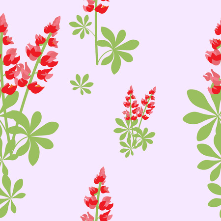 Seamless vector pattern with red lupines on a pink background.For decorating textiles, wallpapers, packaging. Illustration