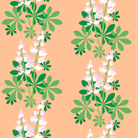 Seamless pattern with lilac and white lupine flowers, vector background.
