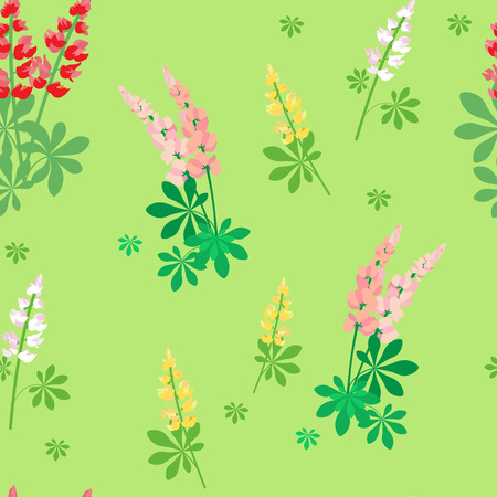 Seamless pattern with pink and yellow lupine flowers on green background, vector illustration.