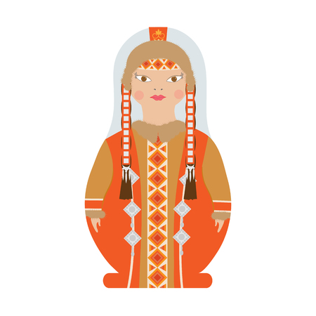 Yakut girl in national costume and headdress. Cartoon character woman, matryoshka doll in traditional dress. Vector illustration, isolated on white background.