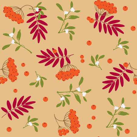 Seamless background with rowanberry and leafs, beautiful autumn natural pattern, vector illustration.