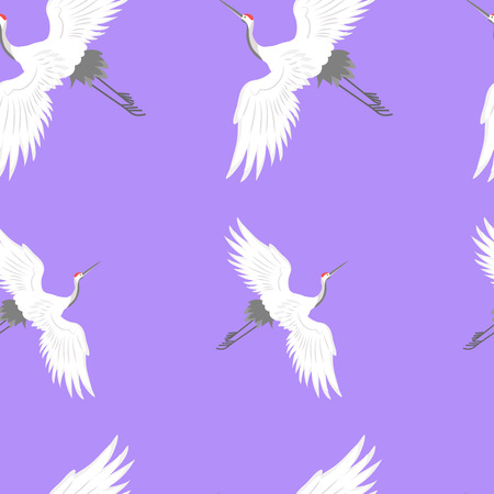 Seamless pattern with white flyng shadoof on a purple background. For decoration of textiles, packaging, wallpaper. Vector illustration.