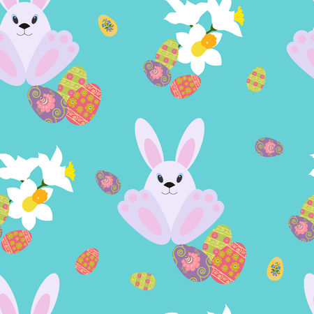 Illustration with a bunny and colorful eggs on a turquoise background.
