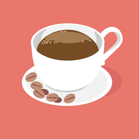 A cup of fragrant coffee on a saucer with coffee beans on a brown background. Vector illustration. To decorate the decor, a menu for coffee, a restaurant, a shop.