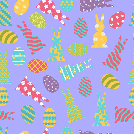 Seamless vector illustration with easter bunnies and eggs on a blue background. To decorate the fabric, paper, wallpaper.
