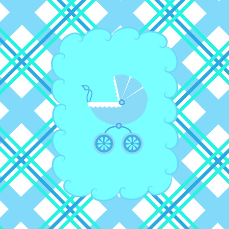 illustration of a baby stroller for a boy in a frame on a checkered background.