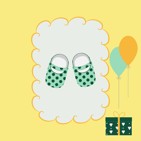 Childrens greeting card with shoes and a gift on a yellow background. A pattern for decorating a poster, album, store. Vector illustration.
