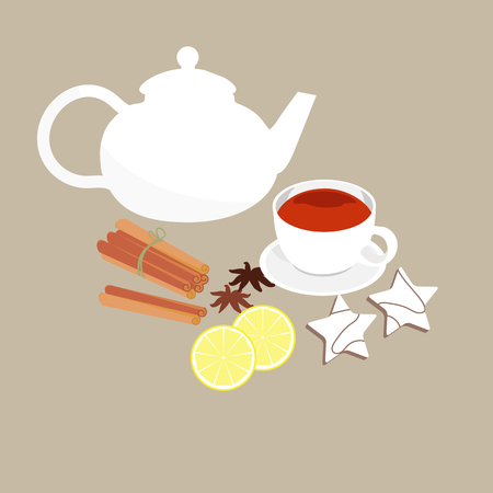 A cup of tea on a saucer with a teapot and spices in the style of a huggie. To decorate the decor of the store, the menu in the restaurant. Vector illustration.
