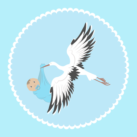 An image a stork delivering newborn. Baby announcement card. Vector illustration