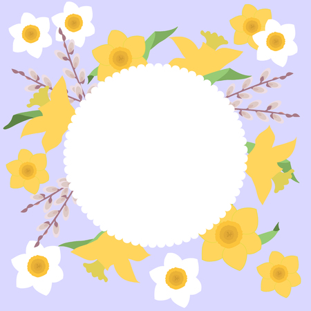 Easter holiday card with daffodils and willow branches, and with a place for your text. Vector illustration. Illustration