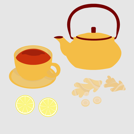 A cup of black tea with a teapot, lemon and ginger on a white background. To decorate the menu in coffee, restaurant, decor. Vector illustration.