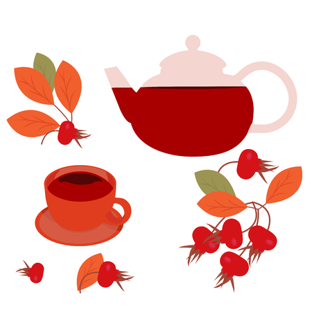 A cup of tea on a saucer with a teapot and a rose hip branch with berries on a white isolated background.