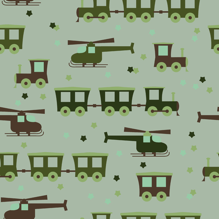 Seamless cute baby pattern with a steam locomotive and helicopter on a green background. For decorating textiles, packaging and wallpaper. Vector illustration.