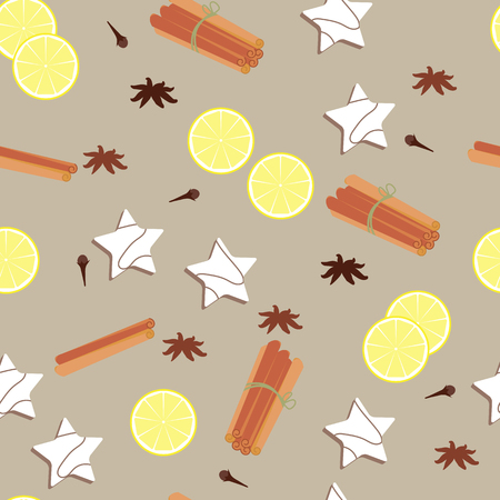 Seamless pattern with lemon and spices on a beige background. For decoration of textiles, packaging and festive decoration. Vector illustration. Illustration