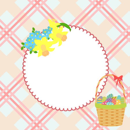 vector frame with flowers of daffodil and easter basket with