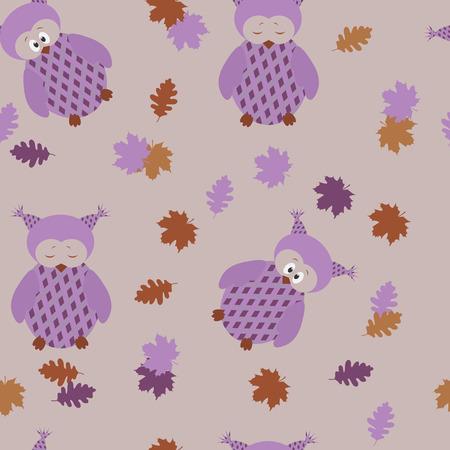 Patrón infantil transparente con búhos y hojas de otoño sobre un fondo lila.