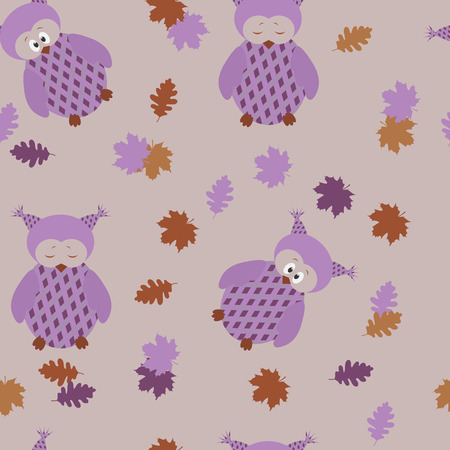 Seamless childrens pattern with owls and autumn leaves on a lilac background.