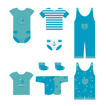 Vector illustration of baby clothes for newborn baby boy in marine style on white isolated background.