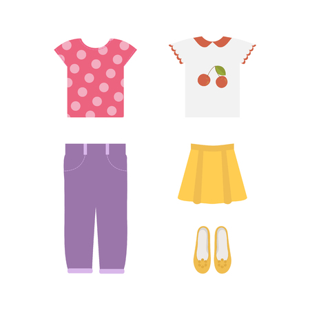 Illustration of a set of Clothes for girls on white isolated background. Stock Illustratie