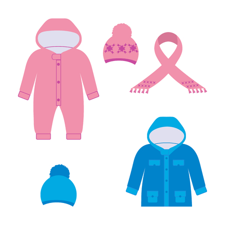 Vector illustration of a set of childrens top warm clothes on white isolated background. Template for design of a store, poster, album.