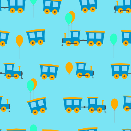 Baby seamless vector illustration of a locomotive and balloons on a blue background. For decorating textiles and packaging. Illustration