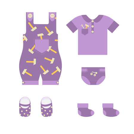 Vector illustration of children`s summer clothes for boy on white isolated background. Template for the decor of a store, album, poster.