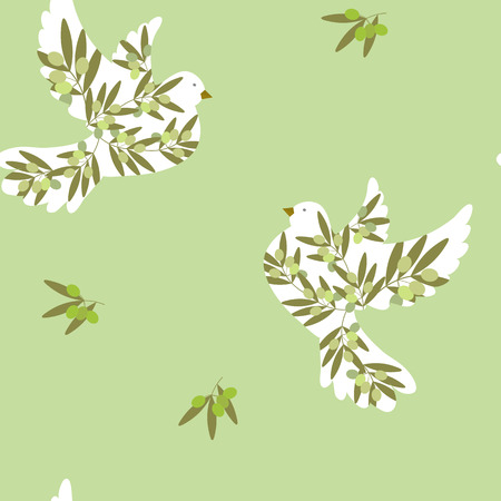 Seamless pattern of stylized pigeons and olive branches on a green background. For decorating textiles, packaging and wallpaper. Vector illustration.