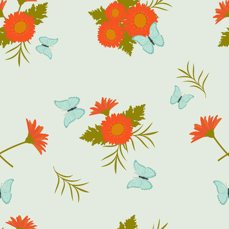 Seamless pattern with red gerbera flowers and butterflies on a blue background. Illustration