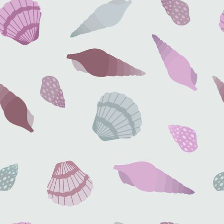 Seamless vector illustration with sea shells in pastel colors. For decorating textiles, packaging and wallpaper. Ilustração
