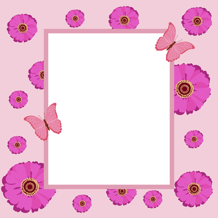 Pink vector illustration of a greeting card with bright summer flowers, with butterflies, with a frame and place for your text. Asters, gerberas, chrysanthemums.