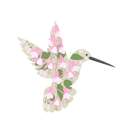 Vector illustration of a stylized bird calibri in flowers of fuchsia on a white isolated background. Template for the design of the album, shop, poster, clothes.
